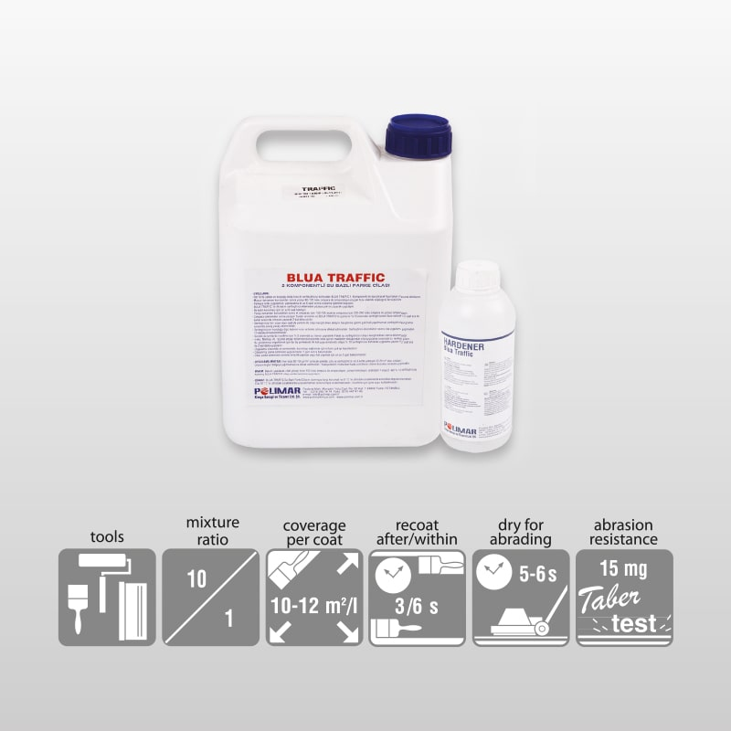 BLUA TRAFFIC-2K Aliphatic Polyurethane Water Based Lacguer For Parguet