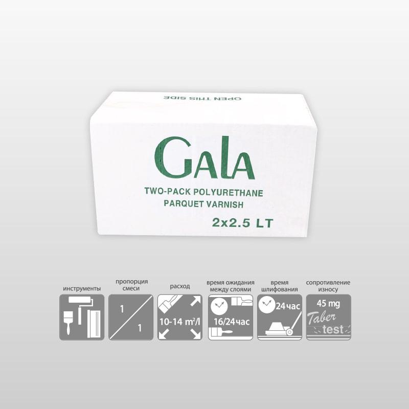 GALA 2К-Полиуретановый глянцевый сатиновый матовый паркетный лак